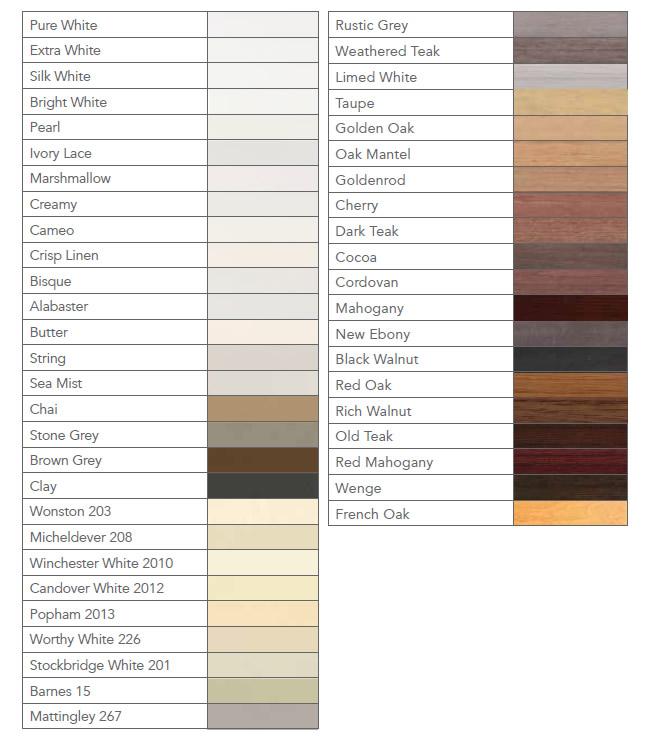 shutter colour chart