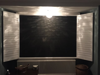 black integrated blinds