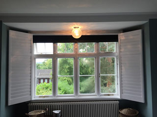 black integrated blinds open