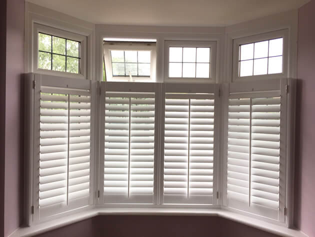 Caf Style Shutters For Bay Window In Elmers End Kent Shuttersup