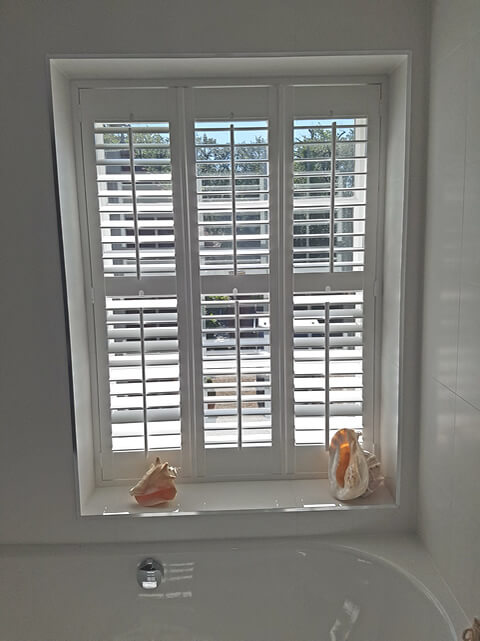 Full Height Java Bathroom Shutters Fitted For Home In