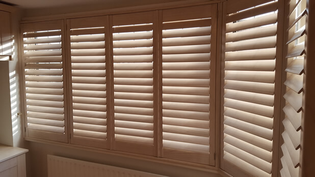 paulownia wood shutters closed