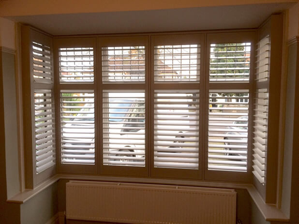 Square Bay Window Plantation Shutters For Living Room In