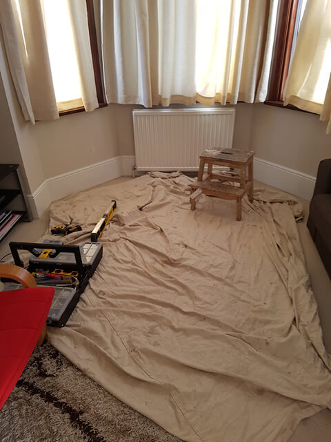 carpet down on the floor