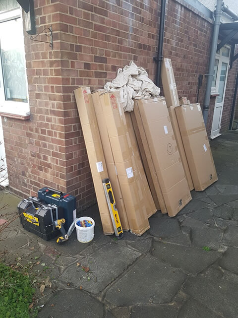 shutters boxed outside