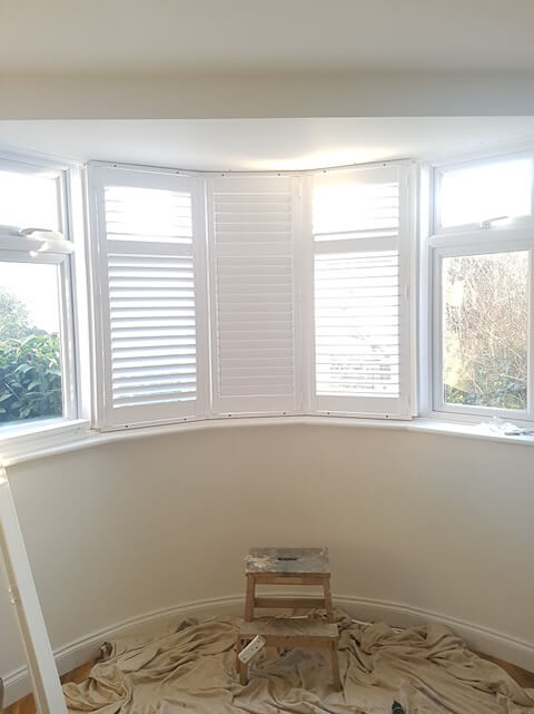shutter panels installed in middle