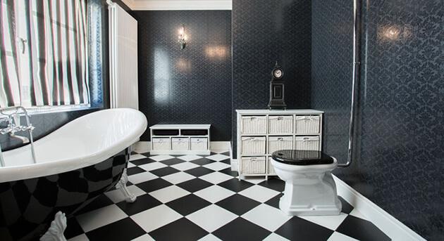 black and white floor tiles