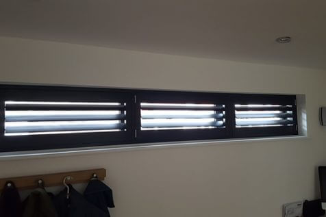 Bespoke Shutters for this awkward sized window in Purely, Surrey
