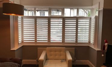 Cafe Style Shutters for Bay Window of Home in Enfield, North London