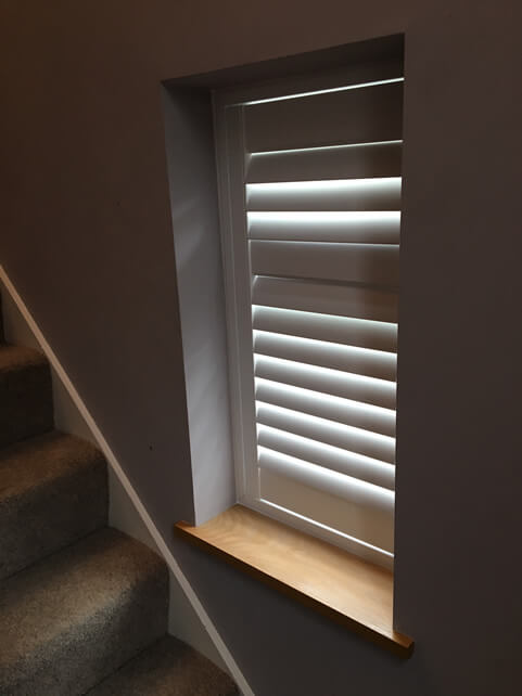 Staircase Window Shutters installed for property in Finsbury Park, London