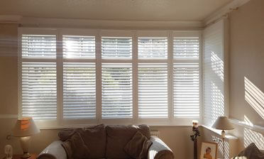 L Shaped Bay Window Shutters for Living Room in Beckenham, Kent