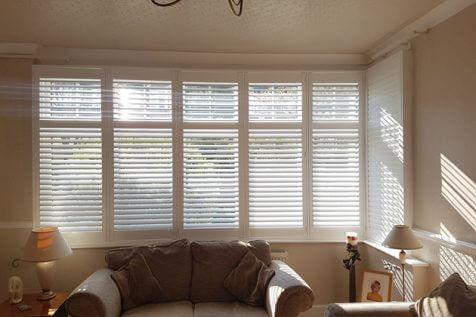 L Shaped Bay Window Shutters for Living Room in Beckenham, Kent