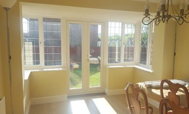 Shutters for Dining Room Square Bay Window and Patio Doors in Maidstone, Kent