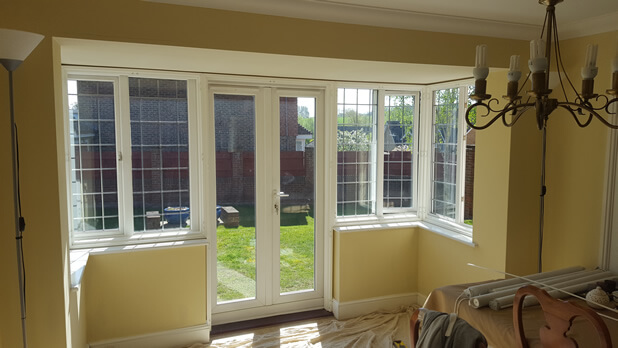 Shutters For Dining Room Square Bay Window And Patio Doors