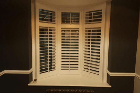 Contrasting Shutters for Small Bay Window of Home in West Wickham, Kent