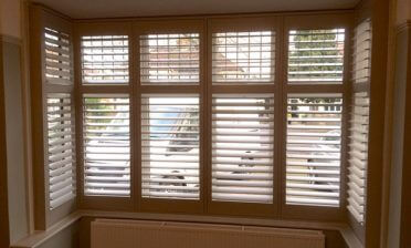 Square Bay Window Plantation Shutters for Living Room in Beckenham, Kent