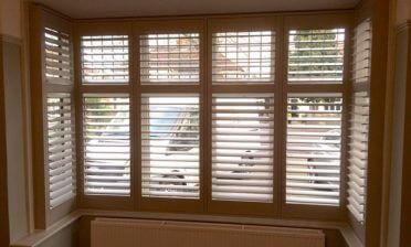Square Bay Window Plantation Shutters for Living Room in Beckenham, Kent