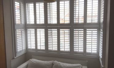 Tier on Tier Window Shutters for Living Room in Kenley, Surrey