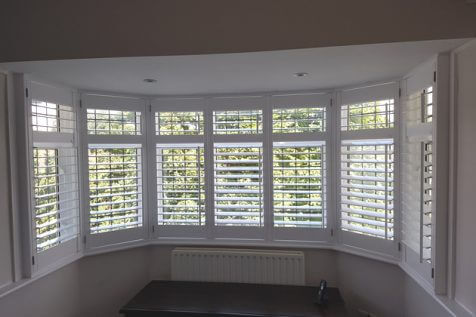 Full Height Bay Window Shutters for Home in Worcester Park, South West London