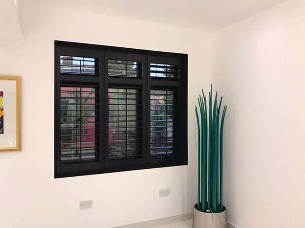 Black plantation shutters for property in bromley kent for Should plantation shutters match trim