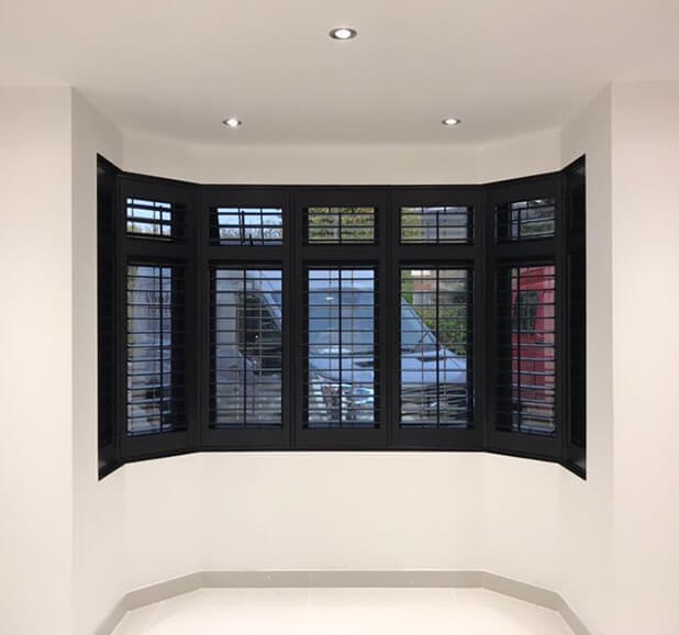 bromley black bay window shutters