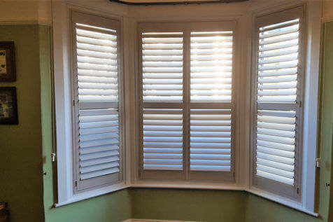 Full Height Shutters for Bay Windows of Home in Brentwood