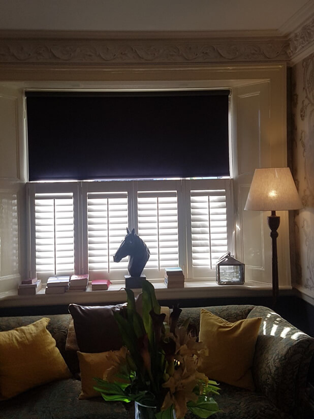 cafe style shutters living room horse with blind down