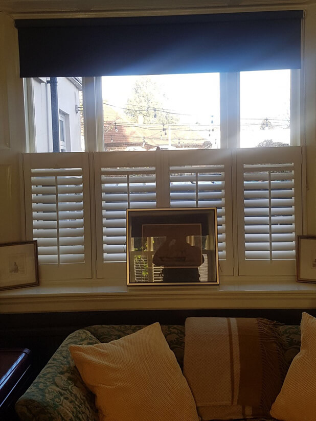 cafe style shutters living room picture frame
