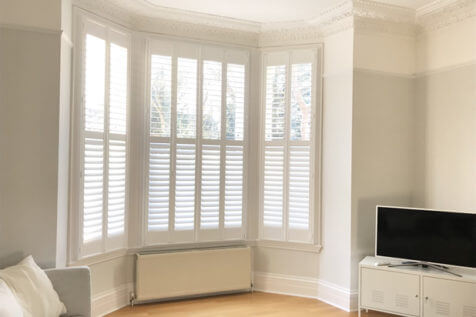 Full Height Bay Window Shutters for Family Living Room in Bromley, Kent