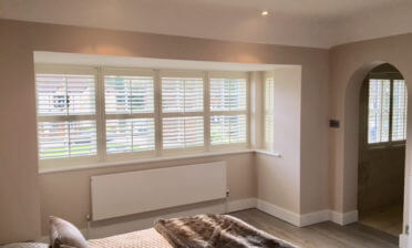 Pearl coloured Fiji Shutters for a private estate in Locksbottom