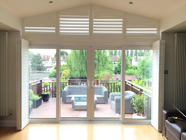 patio door shutters with shutters above