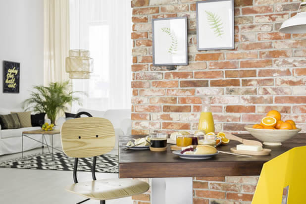 exposed brick walls dining area