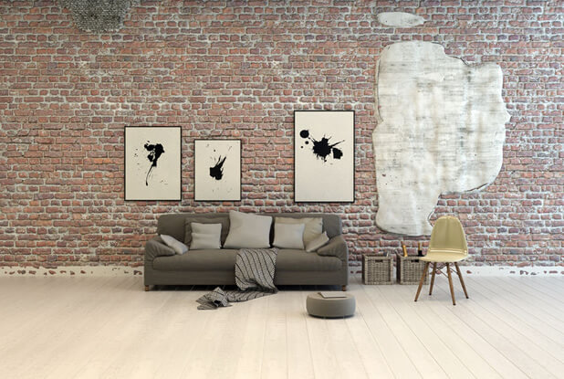 exposed brick walls living area