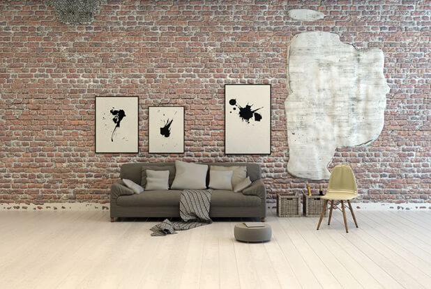 exposed brick walls living area