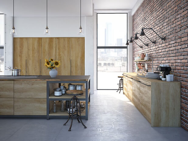 exposed brick wall modern property