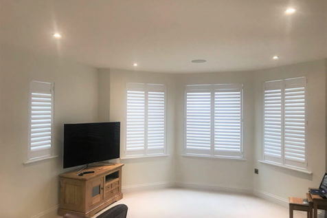 Antigua and Fiji Shutters for Living Room and Kitchen of Home in Surrey