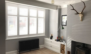 Full Height Shutters for Living Room of House in Esher, Surrey