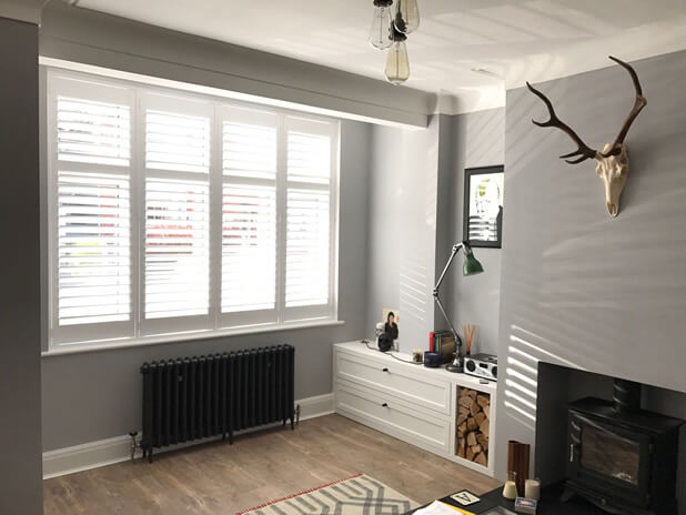 full height shutters living room esher surrey