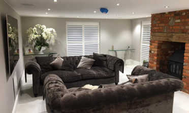 Living Room and Kitchen Shutters for Barn Conversion in Oxshott, Surrey