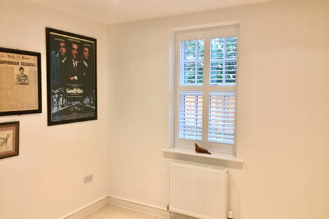 Shutters with Integrated Blinds for Cinema Room in Orpington, Kent