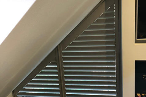 Fiji Shaped Shutters for angled Window in Tunbridge Wells, Kent