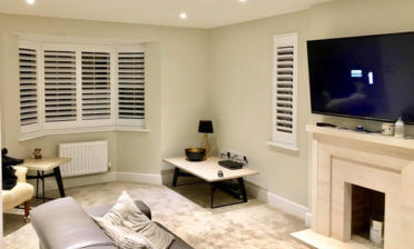 Full Height Shutters with Hidden Splits for Living Room of Home in Oxted, Surrey