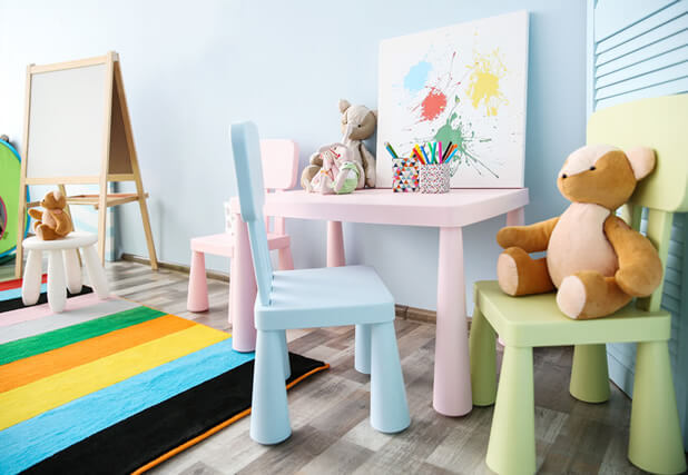 pastel colour playroom