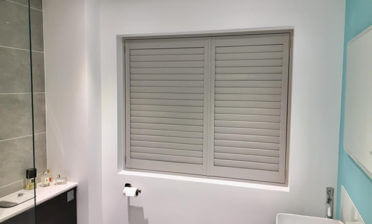 Sea Mist Fiji Hardwood Shutters for Bathroom in Biggin Hill, Kent