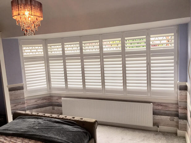 Full Height Bi-Folding Fiji Shutters for Wide Bedroom Window in Welling, Kent