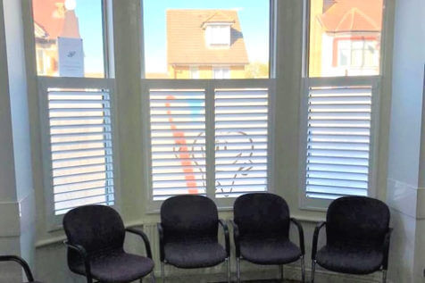 Café Style Shutters for Dental Practice Waiting Area in Thornton Heath