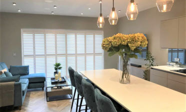 Bi-Folding Track System Shutters for Living Room in Sunbury-on-Thames