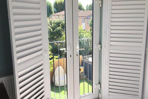 French Door Shutters for Bedroom of Property in Chelsea, London
