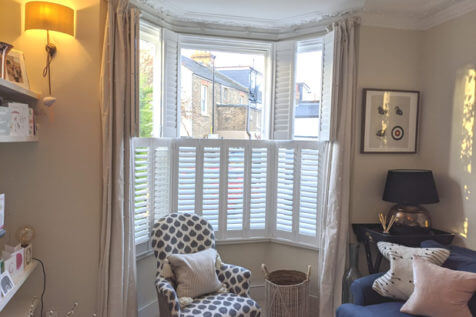 Front Living Room Bay Window Shutters for Home in Paddock Wood, Kent
