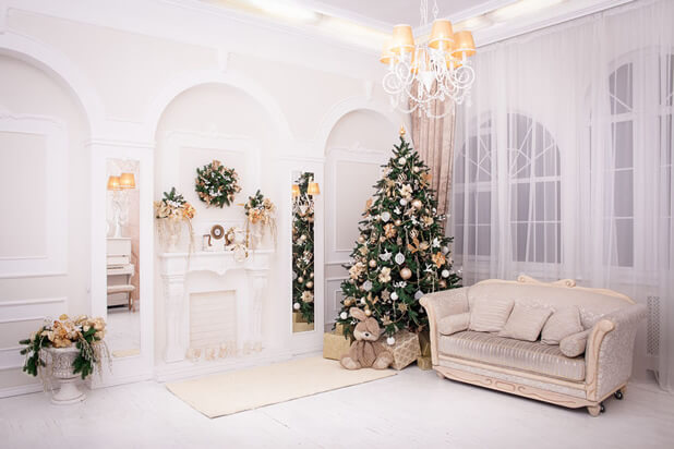 white christmas living room